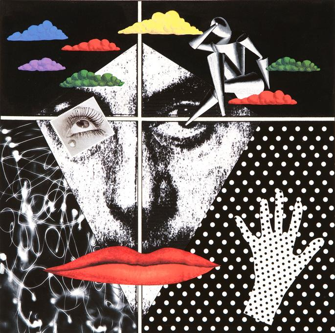 Man Ray, 2009 collage and acrylic 15 x 15