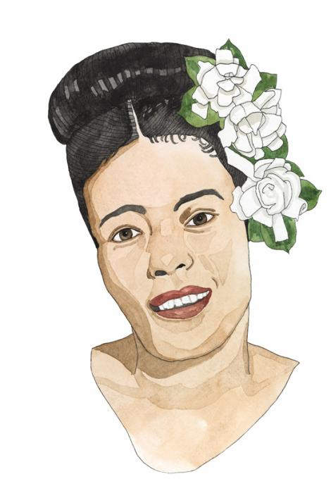 """Billie Holiday, 2016 ink and watercolor on paper 15 x 11"""""""
