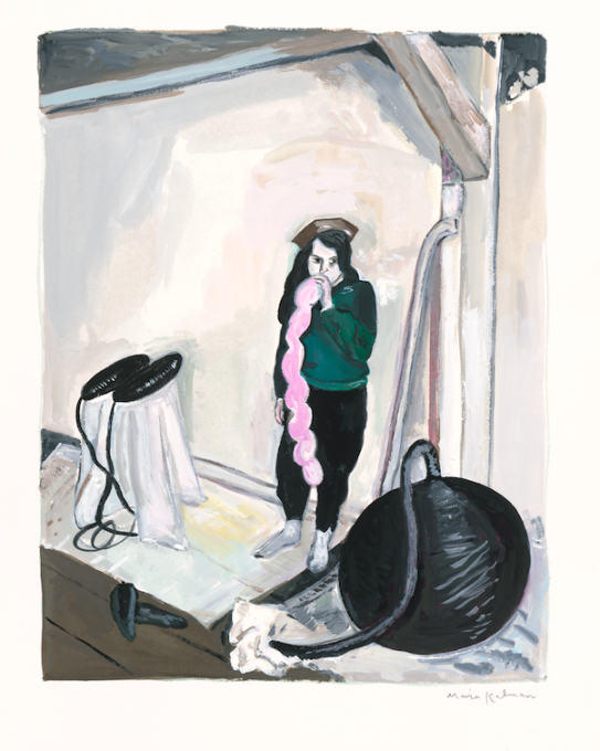 Eva Hesse, 2020 gouache on paper  15 x 11 1/2 inches, sheet  11 1/2 x 9 inches, image