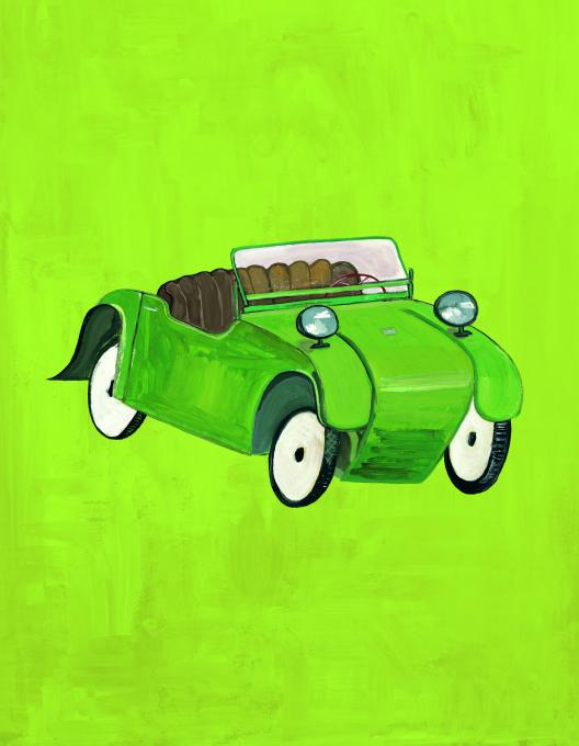 Green Convertible, 2010 gouache on paper  10 x 8 inches, image  14 x 15 inches, sheet