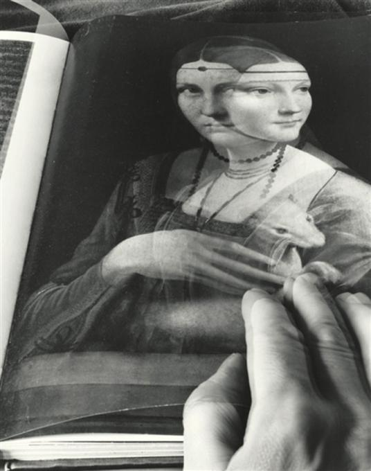 """Book: Two Portraits by Da Vinci and School of Da Vinci, 1993 gelatin silver print, signed, titled and dated verso 24 x 20"""", edition 13/30"""