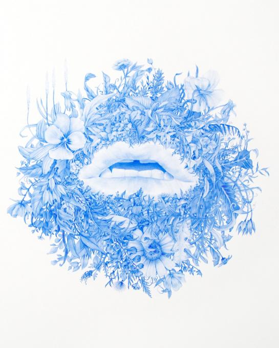Mouth 3, from Wildman Series, 2019 blue pencil on mylar 15 x 20