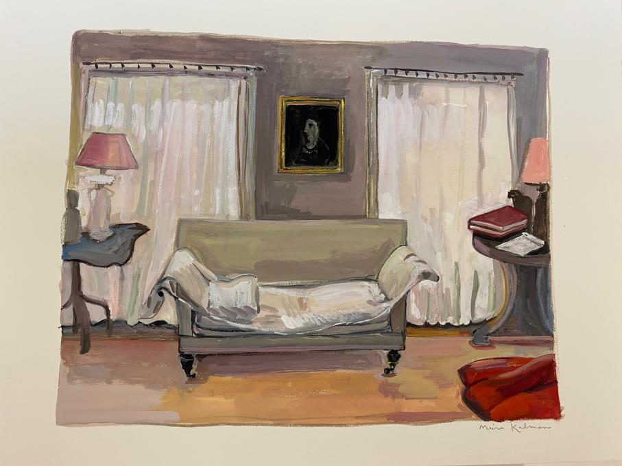 Lucian Freud's Sofa, 2021 gouache on paper  8 3/4 x 11 1/4 inches