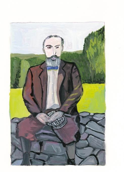 William James, 2019 gouache on paper  9 1/4 x 6 1/4 inches, image 15 x 11 inches, sheet