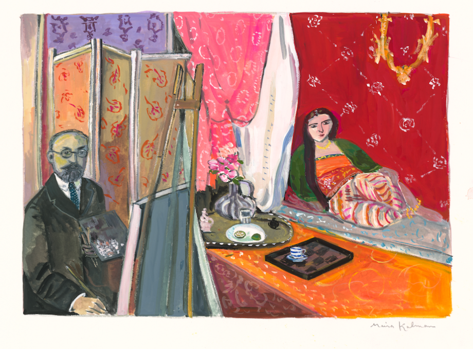 Matisse with Odalisque, 2020 gouache on paper  11 1/4 x 15 inches, sheet  7 3/4 x 10 3/4 inches, image