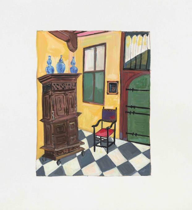 Dutch Interior, 2019 gouache on paper  13 x 11 inches, sheet  8 x 6 1/4 inches, image