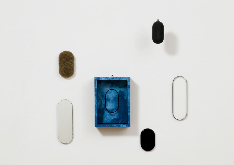 Locations (in 6 parts), 1969 wood, plexiglass, mirror, rubberized horsehair, and formica on wood container installed dimensions variable edition 76/90