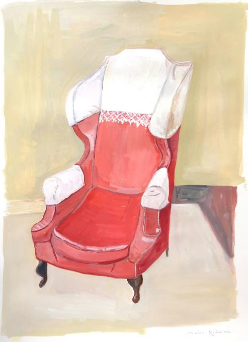 Comfy Armchair, 2019 gouache on paper  13 7/8 x 10 1/2 inches, image 15 x 11 inches, sheet