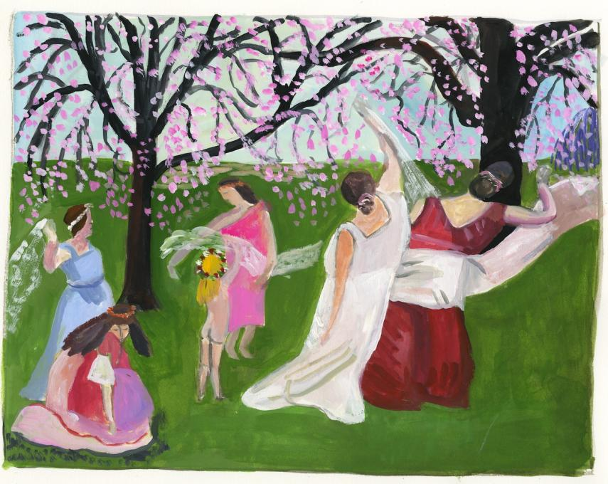 Isadora Duncan, 2019 gouache on paper 8 1/2 x 11 inches, image 11 x 15 inches, sheet