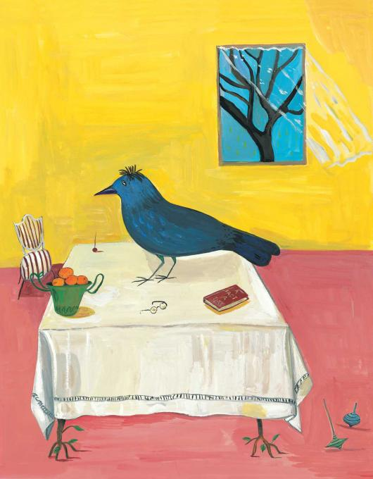 The Bird Sits on the Table, 2010 gouache on paper 13 1/2 x 11