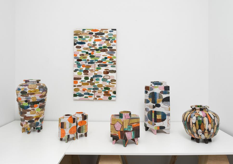 Christopher Russell, install view, Ceramic Vessels & Painting