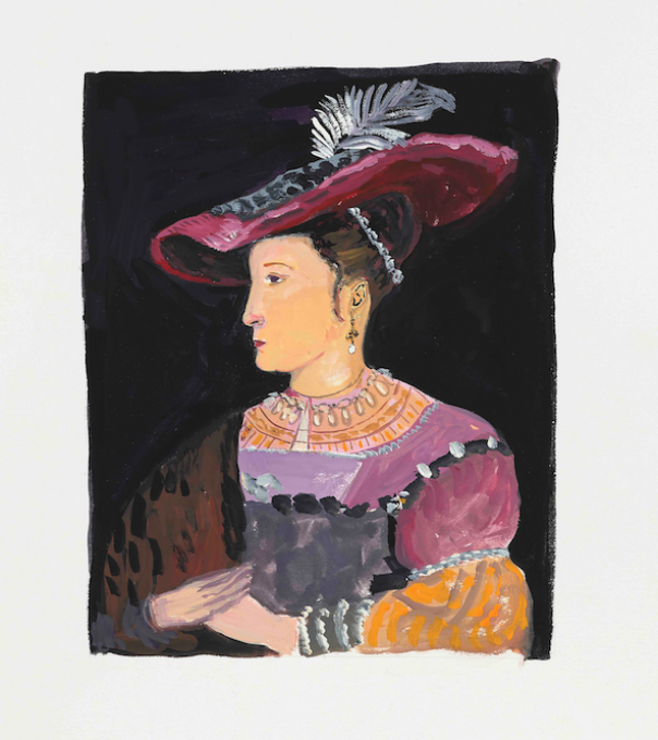 Saskia after Rembrandt, 2019 gouache on paper  13 x 11 inches, sheet  8 1/4 x 6 1/4 inches, image