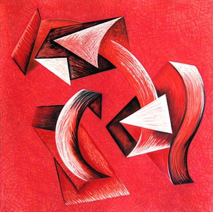 Untitled (red), 1993 wax pastel and pencil on paper 29 1/2 x 21 1/2