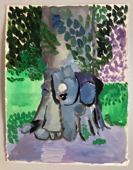 Walk in Central Park with E, 2020 gouache on paper  7 1/2 x 5 3/4 inches