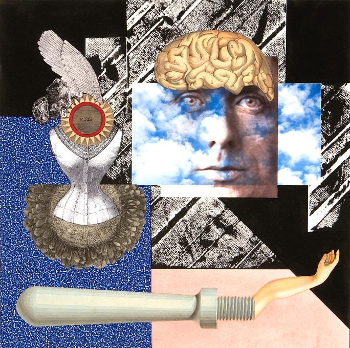 Ernst, 2008 collage and acrylic 15 x 15