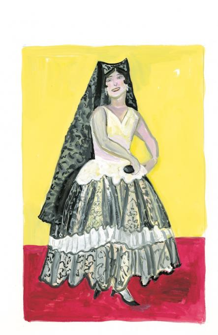 Spanish Dancer, 2019 gouache on paper  9 1/4 x 6 1/4 inches, image  15 x 11 inches, sheet