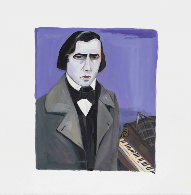 Chopin, 2019 gouache on paper  13 x 11 inches, sheet 8 1/4 x 6 3/4 inches, image