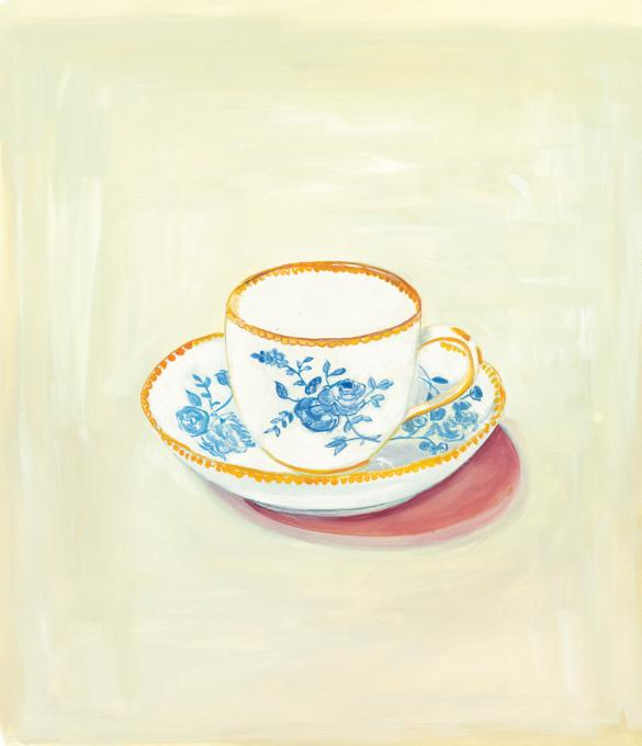"""Porcelain Cup and Saucer, 2014 gouache on paper 12 ½ x 12 ½"""" image, 16 x 13 3/4"""" framed"""