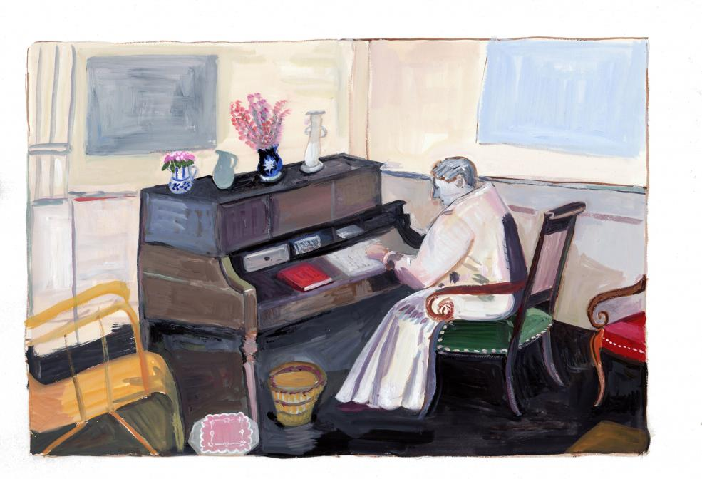 Gertrude Stein at her Desk gouache on paper  9 3/4 x 14 1/2 inches