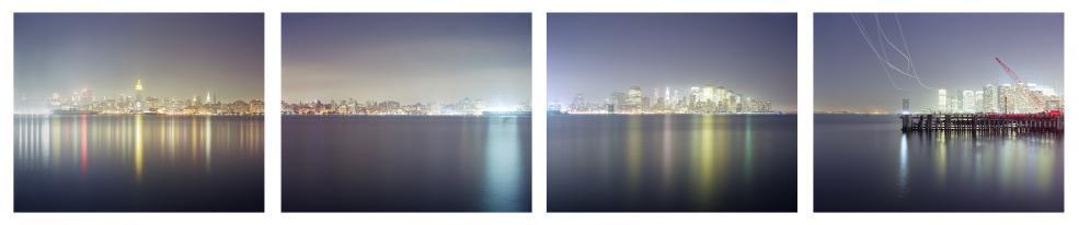 New York from Hoboken, 2010 four pigment prints 28 x 35