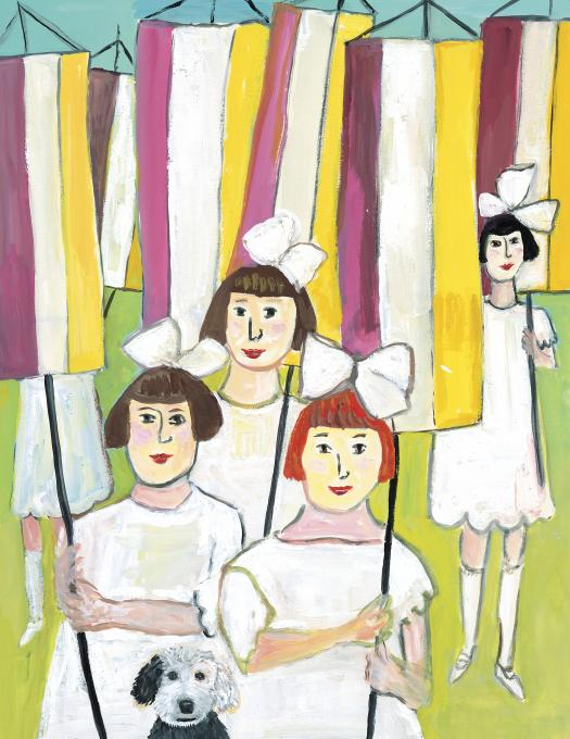 Suffragists of Yesterday, 2018 gouache on paper 11 3/4 x 9