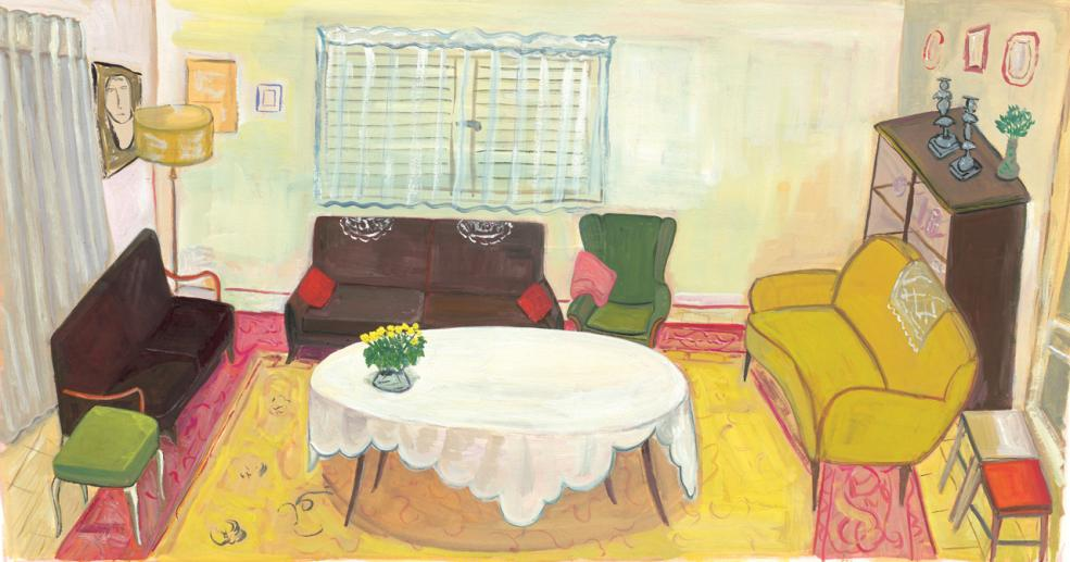 """My Aunt's Dining Room, 2014 gouache on paper 9 3/4  x 18"""" image, 15 1/8 x 24"""" framed"""