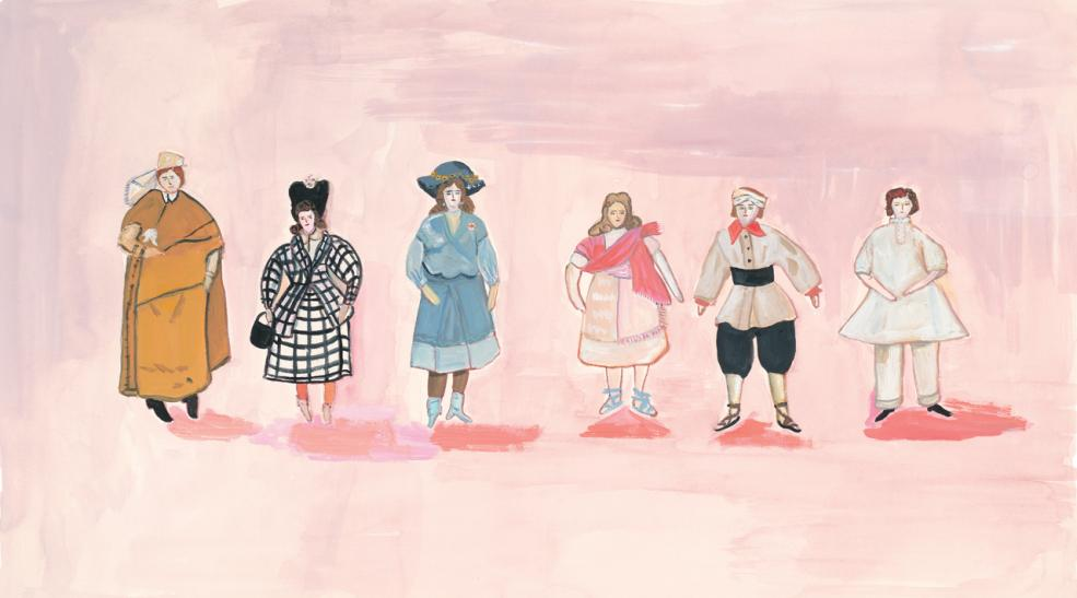 """Dolls Made by Nuns, 2014 gouache on paper 10 3/4  x 19"""" image, 16 x 23 ½"""" framed"""