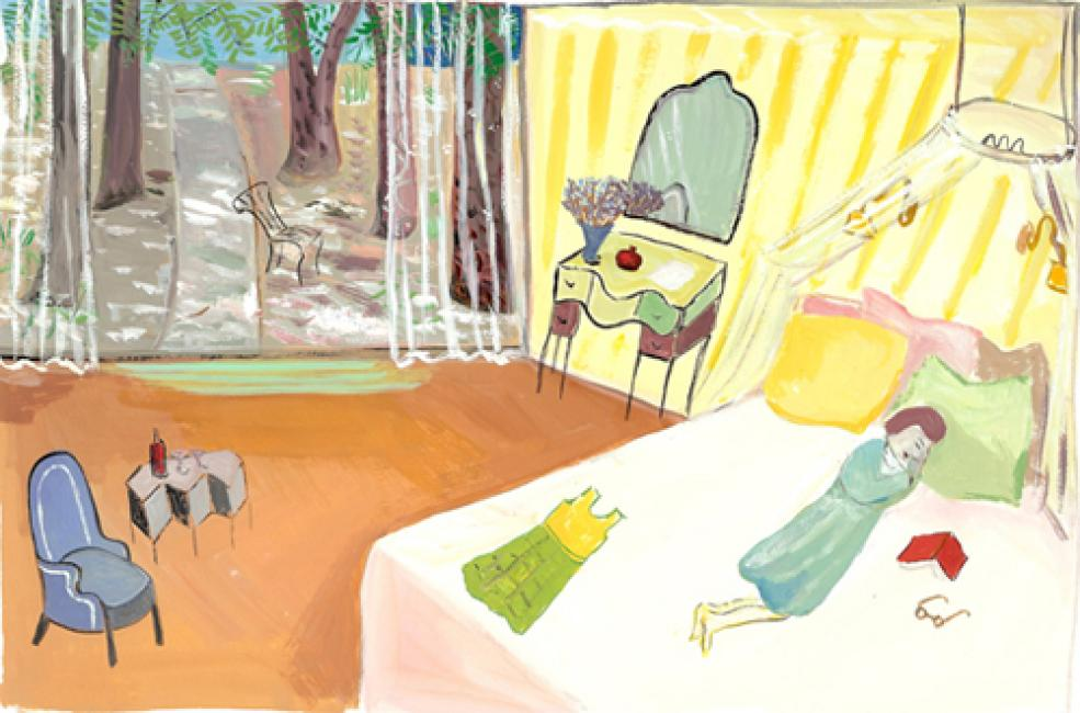 """Israel Bed, 2008 gouache on paper 7 1/2 x 11 1/8"""""""