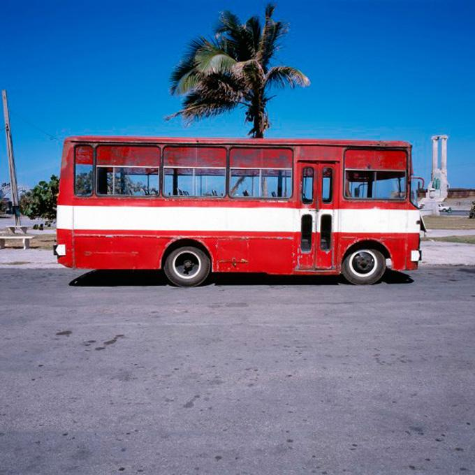 """Red Bus, 2006 cibachrome print image 10 x 10"""", 17 x 20"""" framed, edition of 3"""
