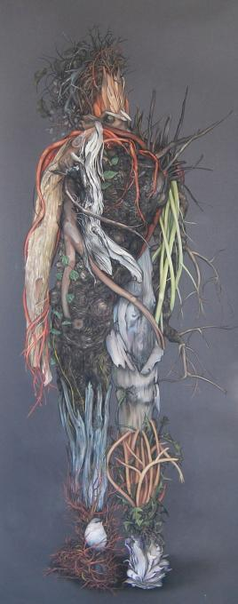 Woodsman, from Natural Drag Series, 2016 pastel on black paper 80 x 33
