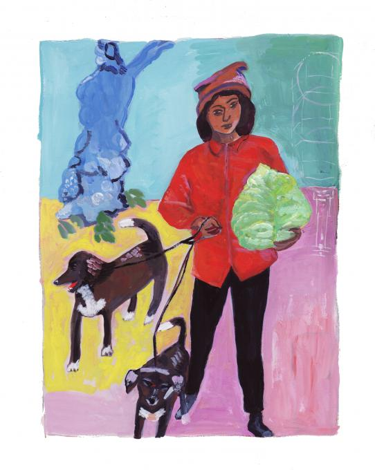 Woman Holding Cabbage, 2021 gouache on paper 10 x 7 1/2 inches