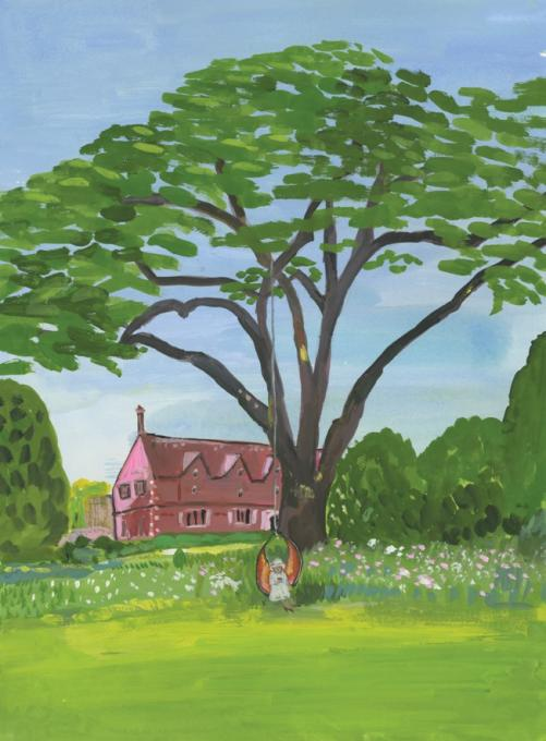 Trees so Majestic and Inviting, St. Giles House, 2017 gouache on paper 11 1/4 x 9 1/4
