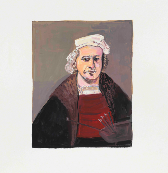 Rembrandt, 2019 gouache on paper  13 x 11 inches, sheet  10 x 8 1/2 inches, image