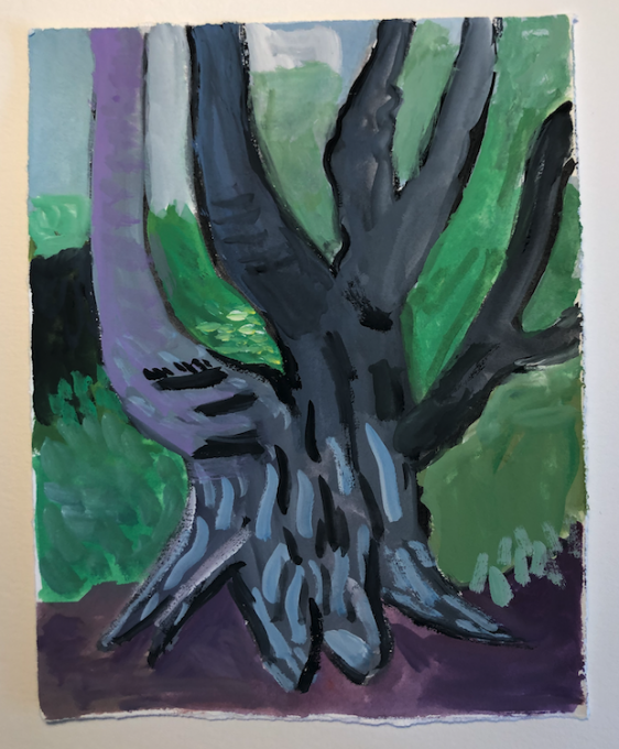Tree on George St, 2020 gouache on paper  7 3/8 x 5 3/4 inches