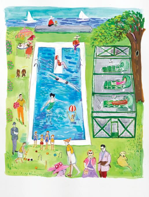 Averell and Marie Harriman's Pool, Sands Point, 2019 gouache on paper 15 x 12