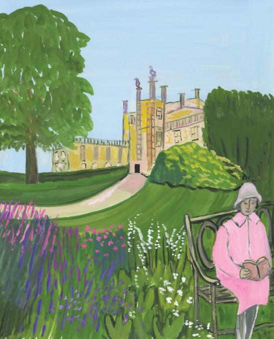 Free to Wander About, Sherborne Castle, 2017 gouache on paper 11 1/2 x 9 1/4