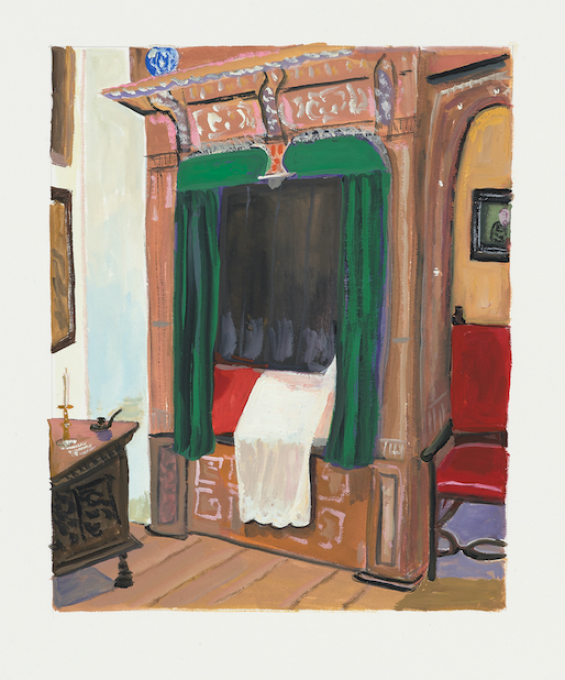 Dutch Bed, 2019 gouache on paper  13 x 11 inches, sheet  8 x 6 1/4 inches, image