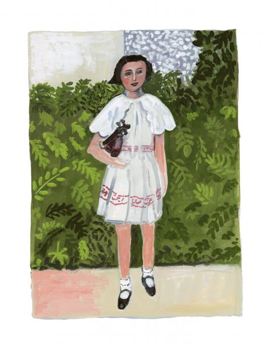Young Girl with Violin, 2021 gouache on paper  10 x 7 1/2 inches