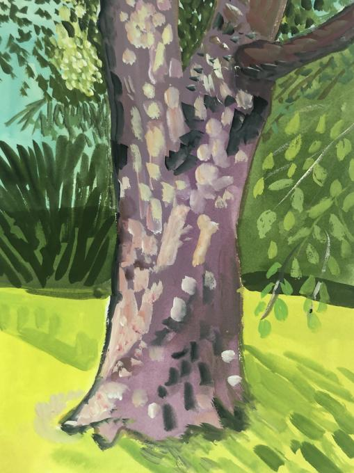 Tibor's Birthday, River Beech, Central Park, 2020 gouache on paper  8 3/8 x 6 1/4 inches