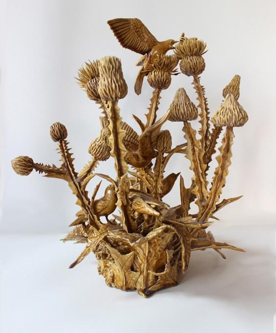 Birds and Bees on Thistle, Variation V, 2010 glazed white earthenware 18 x 17 x 14
